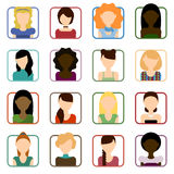 Flat Set of female icons Royalty Free Stock Photos
