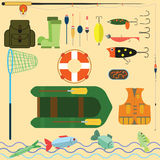 Flat Set for fishing. Flat design a set of fishing: lure , fishing rod , boat , equipment, ryba.Vektor EPS10 Royalty Free Stock Photo