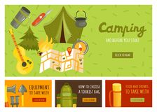 Camping Banners Set. Flat set of four banners with necessary equipment for camping isolated vector illustration Stock Images