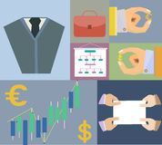 Flat Set icons finance and business agreement stra Stock Photos