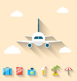 Flat set icons of planning summer vacation, simple style Stock Photography