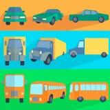 Flat set icons symbols car, truck, bus Royalty Free Stock Photography