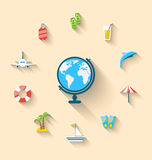 Flat set icons tourism objects and equipment with globe. Illustration flat set icons tourism objects and equipment with globe, long shadow style - vector Royalty Free Stock Photos