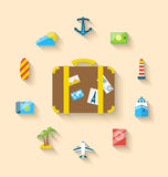 Flat set icons tourism objects and equipment with suitcase Stock Photo