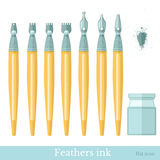 Flat set of ink feather Royalty Free Stock Image