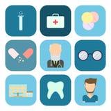 Flat set of medical icons. Royalty Free Stock Photos