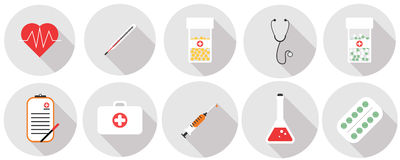 Flat set of medical tools. Flat icons set of medical tools and healthcare equipment, science research and health treatment service. Modern design style symbol Stock Photography