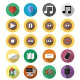 Flat set of modern media vector icons Stock Photos