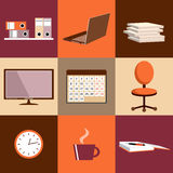 Flat  set of office things Royalty Free Stock Photo