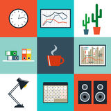 Flat set of office things Royalty Free Stock Images