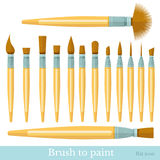 Flat set of paintbrush isolated on white Stock Image