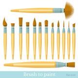 Flat set of paintbrush isolated on white Stock Image
