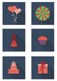 Flat set  with pie, gift,  cupcake, fan, cap, balloons, heart Stock Photography
