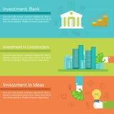 Flat set of social business life horizontal Stock Images