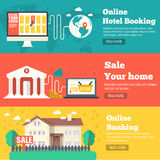Flat set of social business travel, online banking, parking and sale house banners design. Vector backgrounds concepts. Flat set of social business travel Royalty Free Stock Images