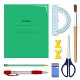 Flat set of stationery on the table. School or office vector set stock illustration