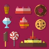 Flat set of sweets Stock Photography