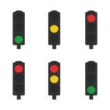 Flat set of traffic lights. On white background. Vector illustration Royalty Free Stock Photo