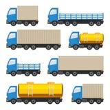Flat set of trucks. Royalty Free Stock Photos