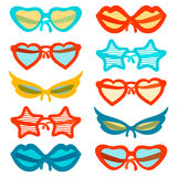 Flat set of vector sunglasses Stock Photos