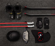 Flat set of winter equipment for extreme sports Royalty Free Stock Photos