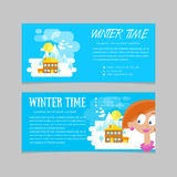 Flat set of winter landscapes. Flat style: winter time in mountains. Set of banners for business. Flat set of winter landscapes. Flat style: winter time in Stock Photos