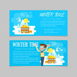 Flat set of winter landscapes. Ski resort and little house in mountains. Flat style: winter time in mountains. Set of banners for Royalty Free Stock Photo