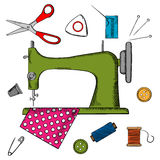 Flat sewing icons and machine Stock Photography