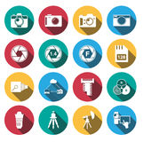 Flat shadow Camera and accessories icon set. Royalty Free Stock Image