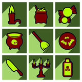 Flat with shadow concept Hallowe'en stylish icons Stock Image