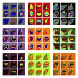Flat with shadow concept Hallowe'en stylish icons Royalty Free Stock Images