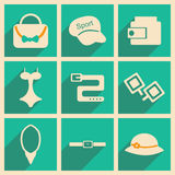 Flat with shadow concept and mobile application. Accessories Stock Photos
