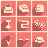 Flat with shadow concept and mobile application. Accessories Royalty Free Stock Photography