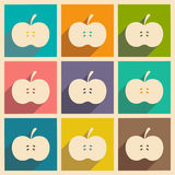 Flat with shadow concept and mobile application. Apple Royalty Free Stock Images