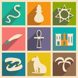 Flat with shadow concept and mobile application. Arabic icons Stock Images