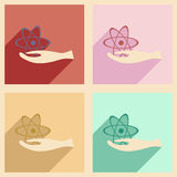 Flat with shadow concept and mobile application. Atom Stock Photos