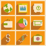 Flat with shadow concept and mobile application. Business icons Stock Photography