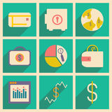 Flat with shadow concept and mobile application. Bussiness icons Stock Images