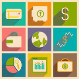 Flat with shadow concept and mobile application. Bussiness icons Royalty Free Stock Photo