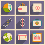 Flat with shadow concept and mobile application. Bussiness icons Royalty Free Stock Image