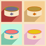 Flat with shadow concept and mobile application cat bowl Royalty Free Stock Photos