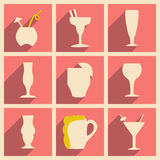 Flat with shadow concept and mobile application. Cocktail glasses Royalty Free Stock Photography