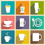 Flat with shadow concept and mobile application. Coffee cups Royalty Free Stock Photo