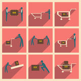 Flat with shadow concept and mobile application Stock Photo
