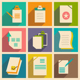 Flat with shadow concept and mobile application. Documents Stock Image