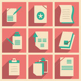 Flat with shadow concept and mobile application. Documents Royalty Free Stock Photos