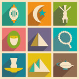 Flat with shadow concept and mobile application. Eastern icons Stock Images