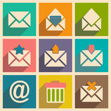 Flat with shadow concept and mobile application. Email icons Royalty Free Stock Photo