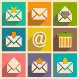 Flat with shadow concept and mobile application. Email icons Stock Photos