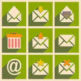 Flat with shadow concept and mobile application. Email icons Royalty Free Stock Images